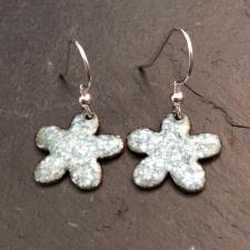 Green + White Speckle Flower Earrings