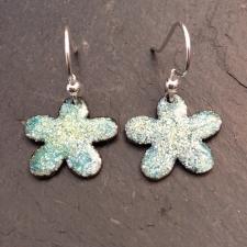 Green + Yellow & White Speckle Flower Earrings