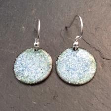 Blue /. Green + White Speckle Disc Earrings