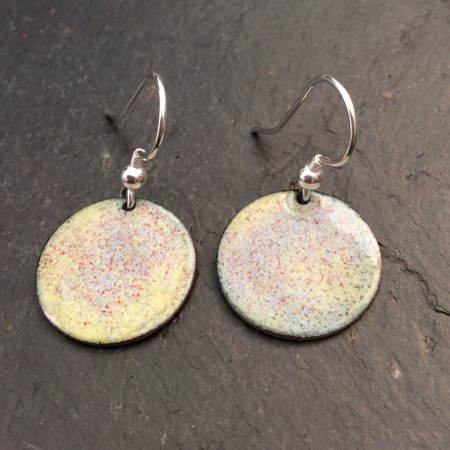 Yellow Speckled Disc Earrings