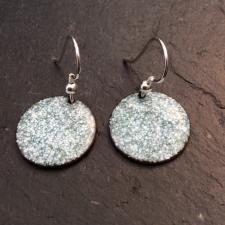 Green + White Speckle Disc earrings