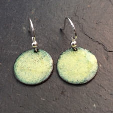 Yellow + Green Speckle Disc Earrings