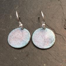 BLue + Red Speckle Disc Earrings