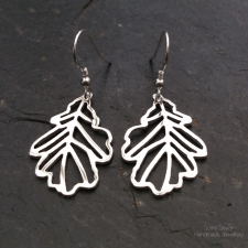 Oak Leaf Filigree Dangle Earrings