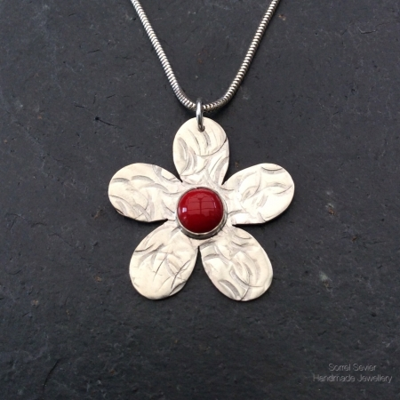 Red Coral Forget Me Not Necklace