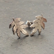 Rowan leaf stud earrings