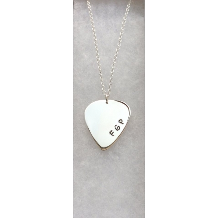 Personalised silver plectrum necklace
