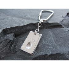 Silver Fingerprint dogtag charm keyring