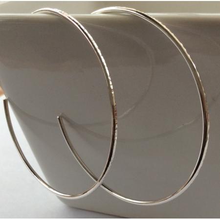 Textured silver hoop earrings