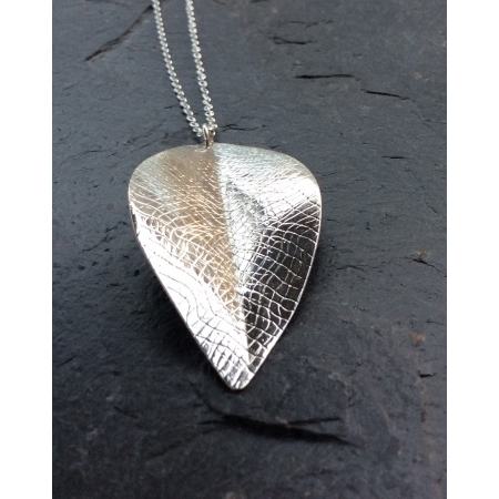 Extra large silver leaf pendant necklace