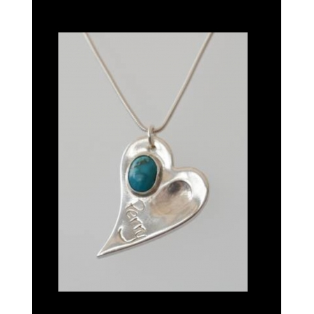 Irregular silver fingerprint heart necklace with birthstone