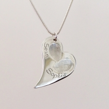Irregular silver heart charm double fingerprint necklace