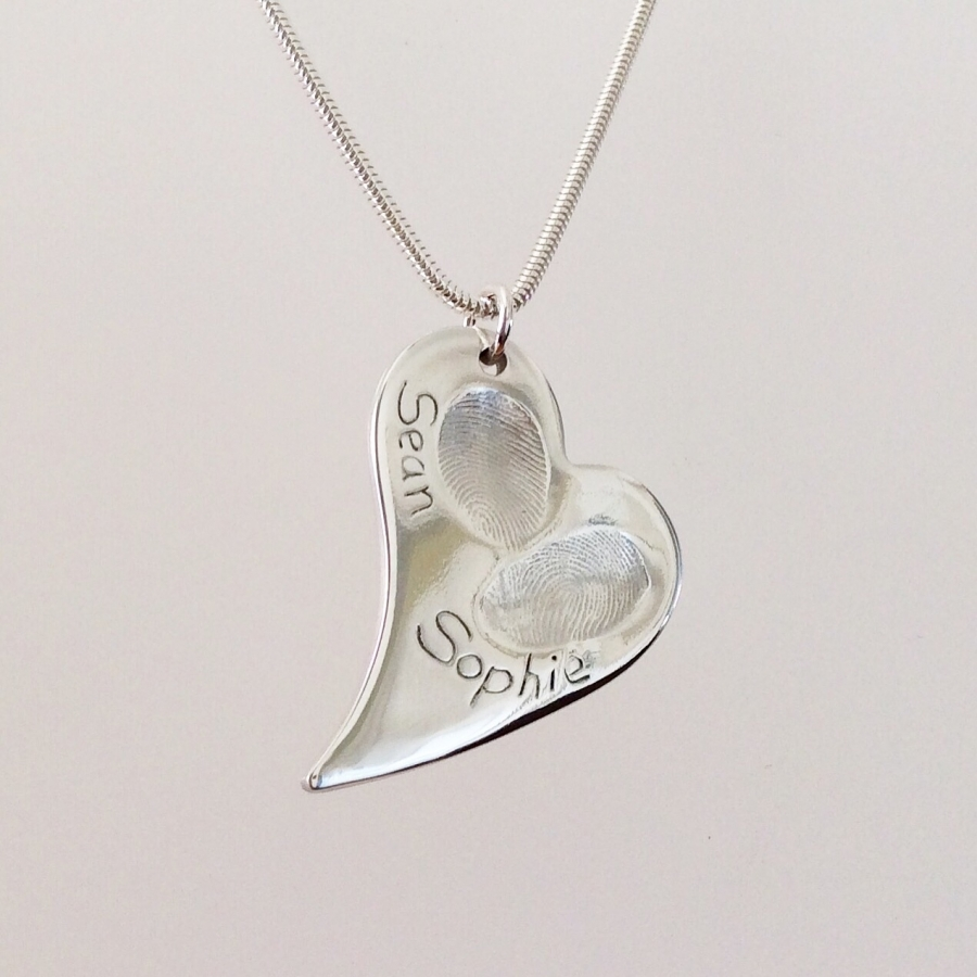 heart on hand fingerprint engraved silver charm necklace