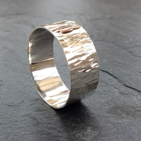 Bark textured silver ring