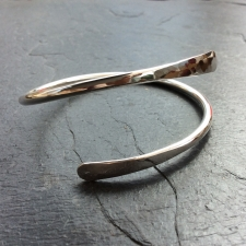 Forged silver overlap bangle