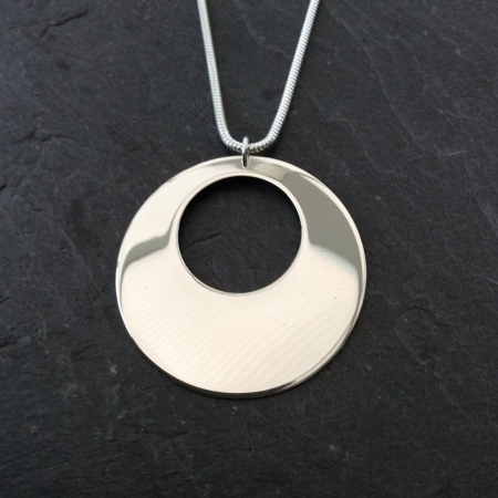 Extra large silver disc necklace
